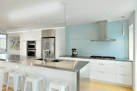 kitchen white glass backsplash. Toronto Blue Glass Backsplash Kitchen Contemporary With High Gloss Stainless Steel Wall Mount Range Hoods Waterfall Countertop White T