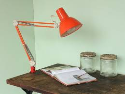 mid century orange luxo swing arm desk lamp at scaramanga