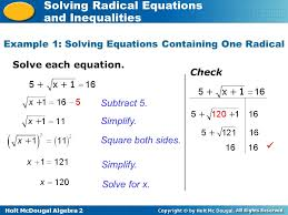 5 holt mcdougal algebra 2 solving radical equations and inequalities solve each equation