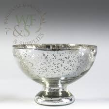 silver mercury glass pedestal compote fruit bowl vase