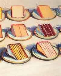 wayne thiebaud oil on canvas cake paintings