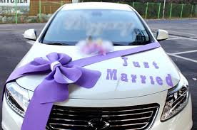 Wedding Car Decorations Accessories Wedding car Decorations kit Big Ribbons Purple bows Letter banner 14