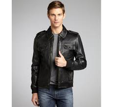 kenneth cole new york black distressed leather motorcycle jacket