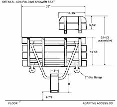 ada shower bench folding seat dimensions revit family details