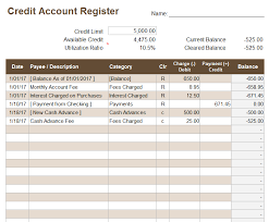 Credit Card Tracker Excel Credit Account Register Template