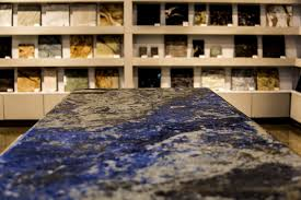 granite countertop in a modern blue and gray kitchen countertop made from granite background shelves
