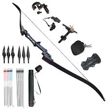 archery recurve bows sets black 57 takedown 60lb right handed men kits
