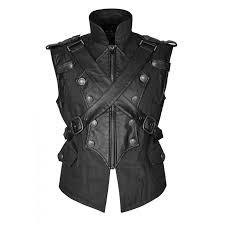 men gothic military vest selpunk army waistcoat steampunk black leather vest