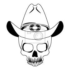 Fototapeta Tetování Lebka S Kovbojský Klobouk Kreslení Vektorové Ilustrace