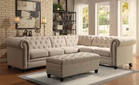 Tufted Living Room Chair Coaster Roy Button Tufted Sectional Sofa With Armless Chair