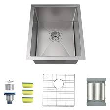 mensarjor 15 x 17 inches 16 gauge stainless steel undermount kitchen sink single bowl bar sink with free sliding colander and basket drain strainer