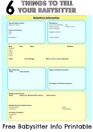 Emergency Contact Forms For Children Babysitter Template Forms Printable Employee Information Forms