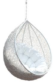 hanging chair rattan egg white half teardrop wicker hanging chair having white puff comfy outdoor hanging chair design ideas furniture hanging chair for