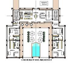 U-SHAPED HOUSE PLANS WITH POOL IN THE MIDDLE | COURTYARD & HORSESHOE DESIGN  BY