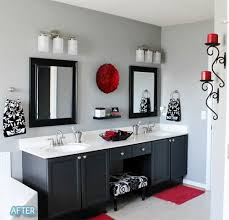 Red, black, and grey bathroom. (Minus the red) Maybe with white wainscoting  to make it fell more like a country farmhouse?