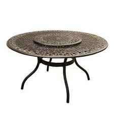 ornate traditional 59 in round aluminum outdoor dining table
