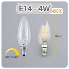 4w e14 chandelier candle led filament bulb