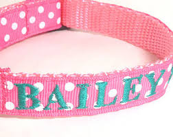 monogrammed dog collars. Pink Polka Dot Dog Collar, Personalized Embroidered Id Girl Collar Monogrammed Collars \