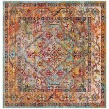 crystal light blue orange 7 ft x 7 ft square area rug safavieh