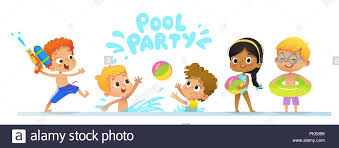 children party invitation templates pool party invitation template baner multiracial children have fun