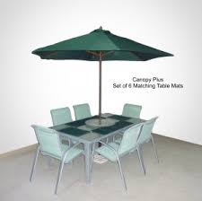 Outdoor patio furniture cover Black 9ft Patio Umbrella Replacement Cover Canopy6 Ribshunter Green W Set Of Table Mats Bellacor Patio Furniture Covers Outdoor Furniture Covers Formosacovers