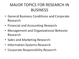 business research methods 15 major topics for research in business