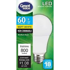<b>Great</b> Value LED Light Bulb, 9W (<b>60W</b> Equivalent) A19 Lamp E26 ...