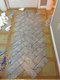Kitchen Floor Vinyl Tiles Diy Herringbone Peel N Stick Tile Floor Grace Gumption