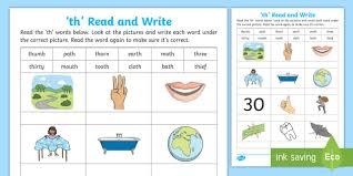 Beginning sounds worksheets for preschool and kindergarten; Th Words For Kids Read And Write Worksheet