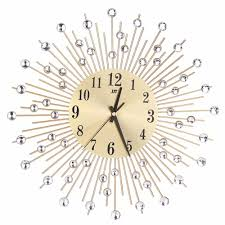modern art large wall clock metal sunburst clear diamante crystal mute wall clock home decor for living room bedroom 40 inch wall clock 50 inch wall clock