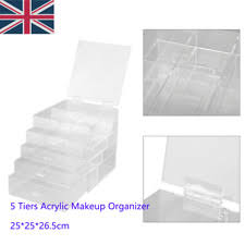 extra large 5 tier clear acrylic makeup table drawers holder case box storage ra
