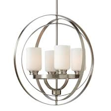 4 light brushed nickel chandelier with etched white glass