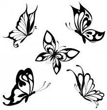 Vektorová Grafika Sada černé Bílé Motýlů Tetování 4669772