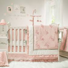 the peanut shell baby girl crib bedding set pink and white arianna 4 piece
