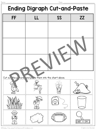 Ending Digraph Cut and Paste: Double Consonant Digraphs (FF, LL ...