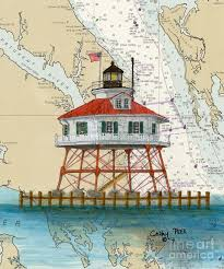 Drum Pt Lighthouse Chesapeake Bay Md Cathy Peek Nautical Chart Map