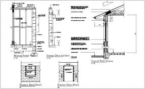 construction view of bearing frame and garage door anchor detail dwg file