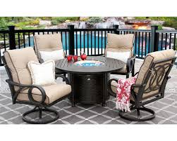 channel cast aluminum outdoor patio 5pc set 50 inch round firetable series 4000 with sunbrella sesame linen cushion antique bronze zenpatio