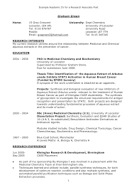 Academic Resume Examples Unique Example Academic CV