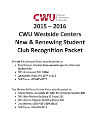 2015 – 2016 CWU Westside Centers New & Renewing Student Club  Recognition Packet