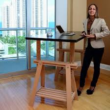 hack an ikea trestle into an adjule standing desk