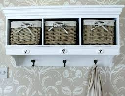 wall shelf with hooks and cubbies overhead coat rack with storage shabby chic hall vintage wall