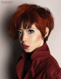 Asian Woman Hair Style short haircut with various lengths and asymmetry for red asian hair 4447 by stevesalt.us