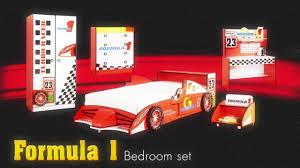 Formula 1 RaceCar Theme Bedroom Furniture Set for Kids Childrens - Car Bed  from Little Devils Direct - YouTube