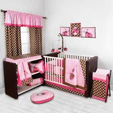 bacati lady bugs pink chocolate girls 10 piece nursery in a bag crib bedding set with per pad for us standard cribs com