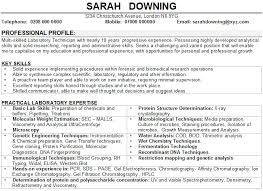 example of good cv layout science cv sample