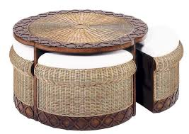 Round Wicker Coffee Table Ottoman Coffetable