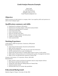 Credit Analyst Resume Example Sample Resume Of Credit Analyst