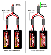 dual batteries in 1 16 models traxxas the illustration above left shows two traxxas 1200mah power cell 7 2 volt batteries connected in parallel note that both positive battery leads in