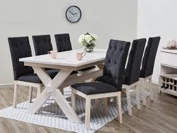whitewash dining suites with black upholstered chairs